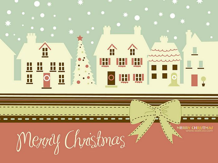 Christmas Illustrations in Mixed Styles  - Christmas card : Cute Christmas town in winter  Wallpaper 3