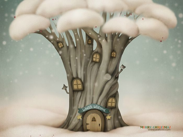 Christmas Illustrations in Mixed Styles  - Christmas illustration : Winter Tree House  Wallpaper 8