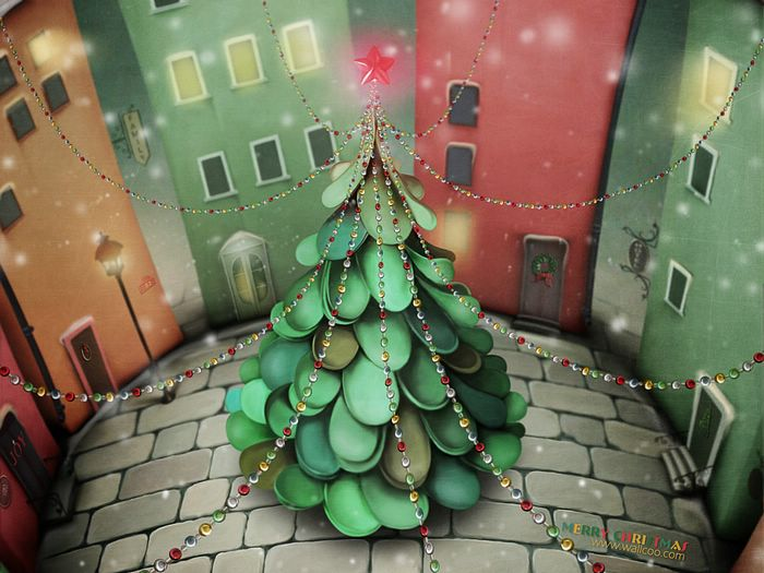 Christmas Illustrations in Mixed Styles  - Christmas tree at Town Square  Wallpaper 22